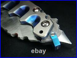 12.8 Oz Blue Anodized Titanium MOW Todd Heeter Knife 9.75 Inches Retail $2495