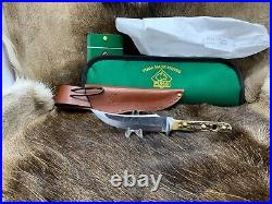 1970 Vintage Puma 6393 Skinner Knife With Stag Handles & Sheath & Pouch Mint A2