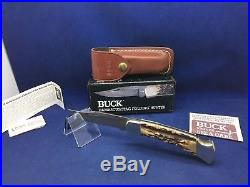 1990 Buck 110 Knife With Stag Handle & Damascus Blade & Sheath Mint In Box