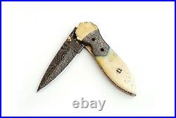 3 Custom Made Bone Handle Arrow Handle Damascus Steel Folding Pocket Knife