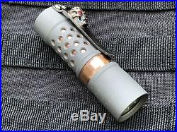 Barrel Flashlight Titanium And Copper With Steel Flame Hardness Clip