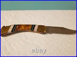 Buck 110 Knife One of a Kind Custom Walnut Wood Elk Antler Black Blue Turquoise