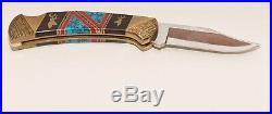Buck 893 Custom Navajo Dave Yellowhorse Collector's Knife + case