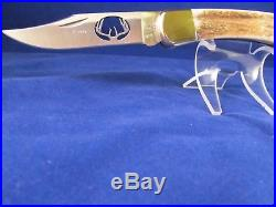 Buck Custom 110 SP24-0 Knife Stag Handles Deer Antler Cut-Out & Leather Sheath
