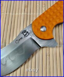 Burchtree Bladeworks custom orange Impetus Not Spyderco Bombshell or Strider
