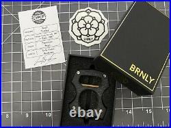 Burnley Knives BRNLY Cypop Royal Contra Black Micarta/Brass Bottle Opener NEW