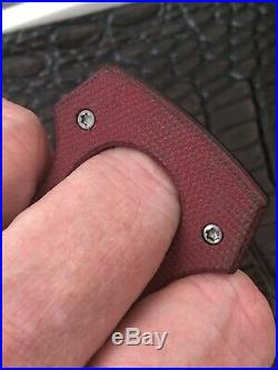 Burnley Knives Cypop Contra RED Micarta Titanium Blasted Q-Bert Laser Logo