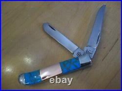 Case XX Knife Mini Trapper Custom Hand Finished Turquoise / Copper / Nib