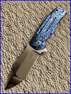 Chad Nell Knives Custom One-Off Mokuti Mirror BLADE Patton Flipper Knife NEW