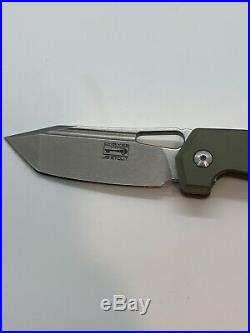 Chaves American Made JB Stout Megalodon 325 Knife Green Ti (3.25 Stonewash)