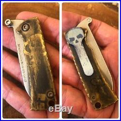 Chaves Custom Knives Redencion Friction Folder Brass Handles w Skeleton Key