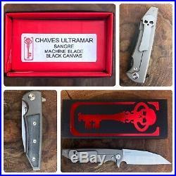 Chaves Ultramar Sangre Street Flipper Knife Titanium Black Micarta Machine Blade