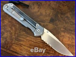 Chris Reeve Knives Large Sebenza 21 Black Micarta Drop Point Serrated Blade