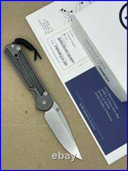 Chris Reeve Large Sebenza 21 Knife Titanium Handles Black Canvas Micarta LEFT
