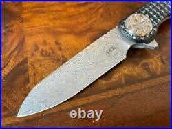 Curtiss Knives Cruze Flipper FR/CF/DAM Carbon Fiber Damasteel Titanium Framelock