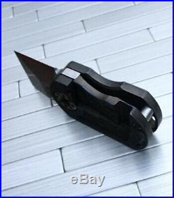 Curtiss Knives ODT Dogtag Flipper Knife Jigged Titanium Blue Green Ano New