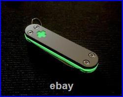 Custom 58mm Swiss Army Knife with Titanium Scales & Green TurboGlow Victorinox