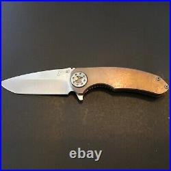 Custom Curtiss Knives F3 Medium Anodized Bronze Titanium Flipper Folder Knife