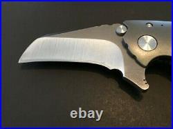 Custom Direware Knives S-90 Grey Titanium Folder Flipper Knife