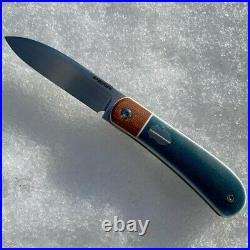 Custom Enrique Pena Zulu Front Flipper Knife in Blue Denim and Natural Micarta
