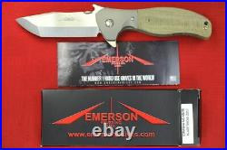 Custom Ernest Emerson Sig Legion SpecWar Flipper withWave, Green Micarta Scales