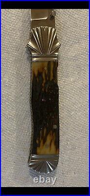 Custom Folder Knife, Ken Steigerwalt, Stag Handle, S. S. Blade, Silver N. Bolsters