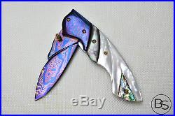 Custom Handmade Folding Knife Color Damascus White Black Pearl Abalone Handle