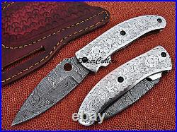 Custom Handmade Full Damascus Hand Engraved Steel Folding Collectible Knife