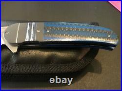 Custom Herucus Blomerus Sculpture Ti/BlueBlack CF Flipper Folder Folding Knife