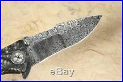 Custom Knife Brian Tighe Damasteel & Carbon Fiber Exclusive Rare Gold Class