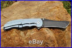 Custom Made Norseman Knives M390 Blade Blue Anodized Honeycomb Pattern Knife NIB