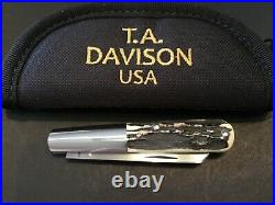 Custom T. A. (Todd) Davidson Sambar Stag Barlow Slipjoint Folder Folding Knife