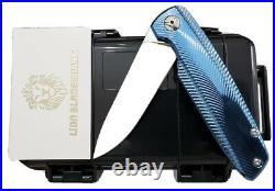Custom specter m390 blades blue anodized titanium tactical folding pocket knife