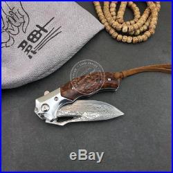 Damascus Hunting Knife Camping Army Rescue Folding Pocket Knife Sheath Snakewood