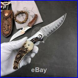 Damascus Hunting Tactical Rescue Folding Pocket Knives Snakewood Anlter Sheath