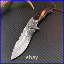 Damascus Outdoor Folding Knife Camping Army Hunting Rescue Pocket Knife Padauk