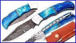Damascus Steel Blade, Pocket Knife, Folding Knife, Camel Bone Handle Art (256)