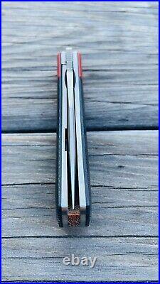 Enrique Peña Custom Front Flipper Trapper Black & Red Micarta Pena Knives