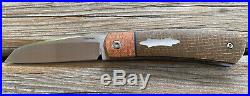 Enrique Peña Rare Custom Apache Front Flipper Knife Burlap Micarta Pena Knives