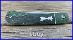 Enrique Peña Rare Custom Front Flipper Trapper Green Micarta Pena Knives