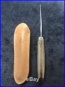 Forge De Laguiole 9cm Pocketknife With Matching Leather Sheath. $160 Retail. T12