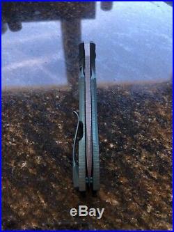 Gavko Knives Hybrid Snubby Mako Flipper Midtech Stonewashed AEB-L Green Ano Ti