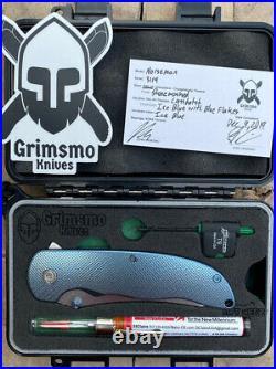 Grimsmo Custom Knives Pocket Knife Norseman Flipper Ice Blue Crosshatch RWL34