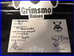 Grimsmo Norseman #1422 Stonewashed Silver Titanium Handle Custom Pocket Knife