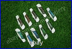 HFD-051 Custom Handmade Damascus 7 inches Folding Knives Lot of 10-PCS
