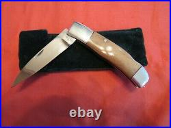 Handmade Folding Knife. W. C. Davis. Oosik Lockback Unused. Excellent