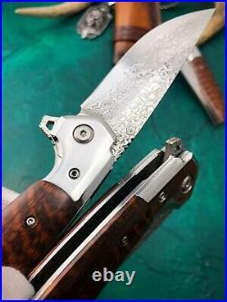 Handmade Japanese Vg10 Damascus Folding Knife Rescue Tool Snakewood Ball Bearing