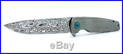 Holt Bladeworks Specter, Damasteel, Feather, Antique Green Anodize Box New Knife