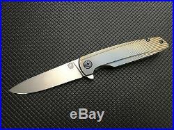 Holt Bladeworks Specter Stonewashed M390 Three Tone Bent Starburst Ti Handle