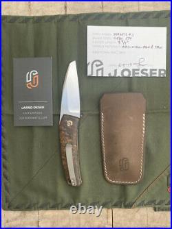 Jared Oeser Custom Knives Mantis Flipjoint Pocket Knife Rag Burlap Red & Tan